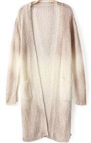 Khaki Ombre Long Sleeve Pockets Knit Cardigan