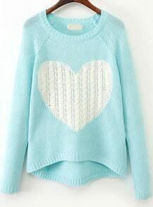 Blue Long Sleeve Heart Print Knit Sweater