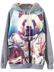 Grey Hooded Long Sleeve Panda Print Sweatshirt