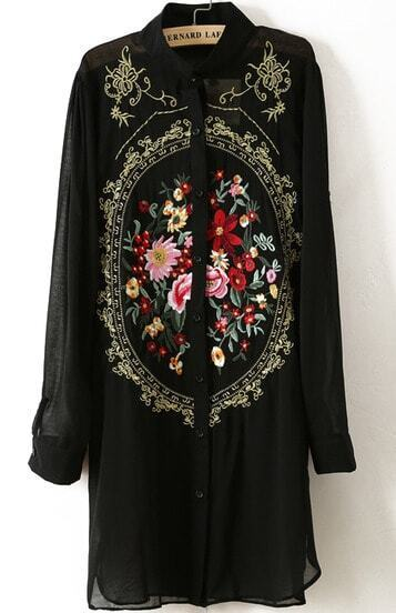Black Long Sleeve Rose Embroidered Chiffon Blouse