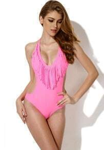 Pink One Piece Swimwear with Fringe and Side Cut Outs