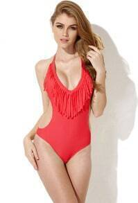 Red One Piece Swimwear with Fringe and Side Cut Outs