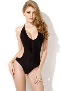 Black One Piece Swimwear with Fringe and Side Cut Outs