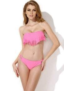 Pink Bandeau Top with Fringe Detail at Bust Bikini