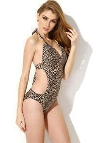 Leopard Print One Piece Swimwear with Cut Out