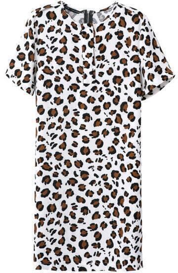 White Short Sleeve Leopard Slim Dress