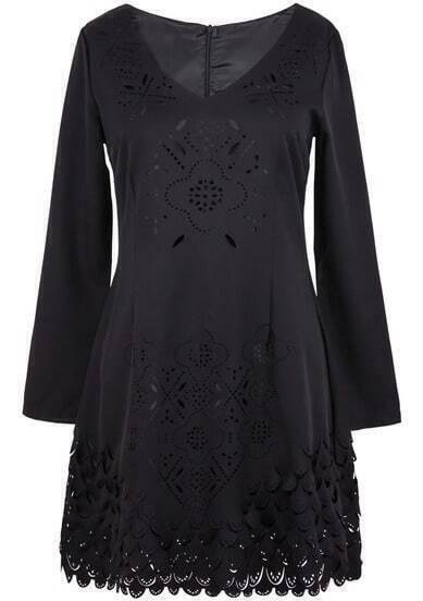 Black V Neck Long Sleeve Hollow Dress