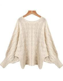 Apricot Batwing Long Sleeve Knit Loose Sweater