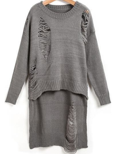 Grey Long Sleeve Hollow Dipped Hem Knit Sweater