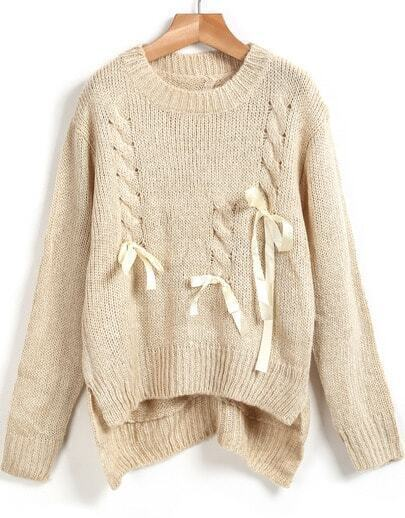 Apricot Long Sleeve Bow Asymmetrical Knit Sweater