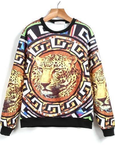 Yellow Long Sleeve Leopard Print Loose Sweatshirt