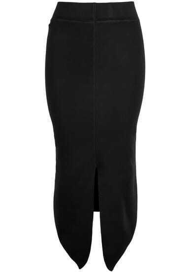 Black Split Knit Skirt