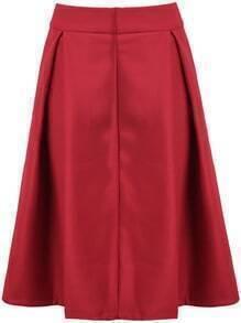 Red High Waist Leather Skirt
