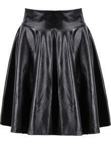 Black High Waist Zipper Leather Skirt