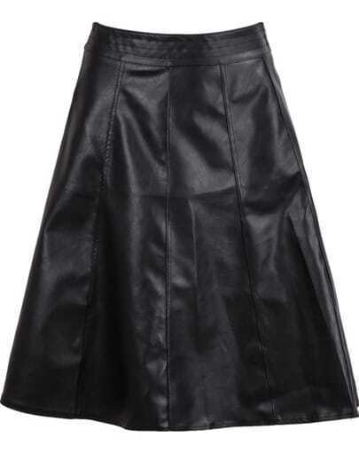 Black High Waist Leather Skirt