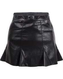 Black Ruffle Bodycon Skirt