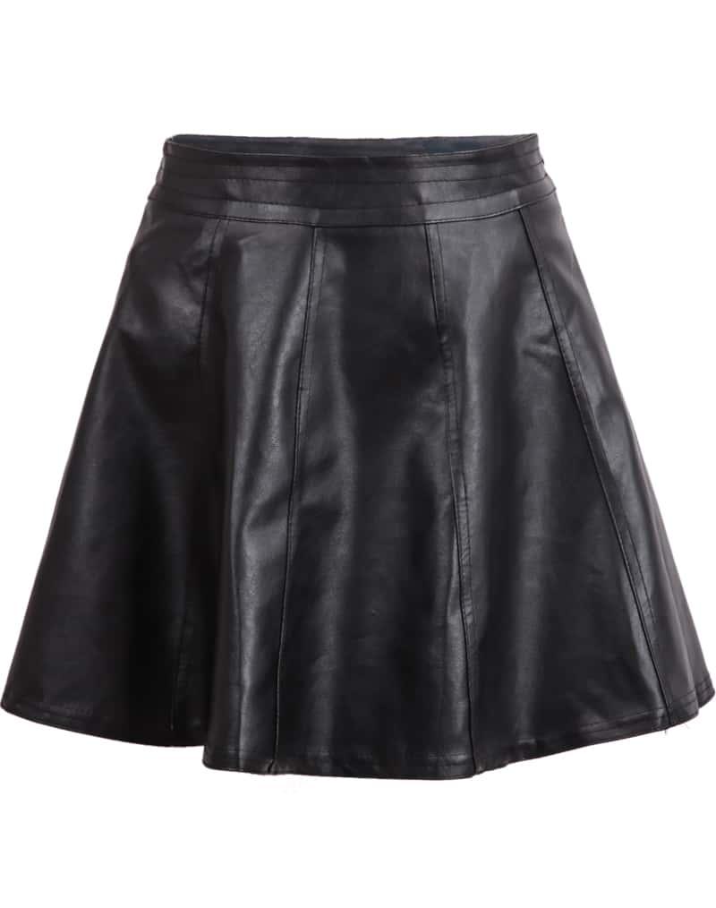 black high waist leather flare skirt shein sheinside