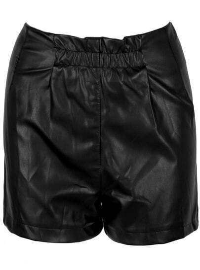 Black Zipper Straight Leather Shorts