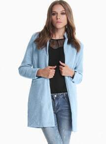 Blue Long Sleeve Pockets Woolen Coat