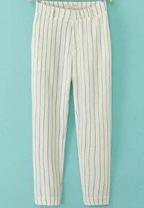 White Slim Vertical Stripe Pant