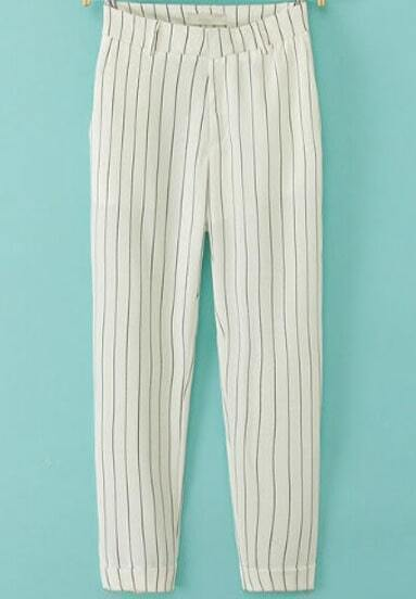 White Slim Vertical Stripe Pant