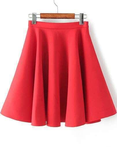 Red High Waist Pleated Skirt