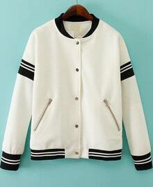 White Long Sleeve Zipper Pockets Jacket