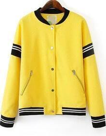 Yellow Long Sleeve Zipper Pockets Jacket