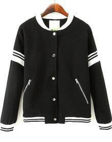 Black Long Sleeve Zipper Pockets Jacket