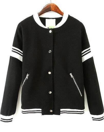 Black Long Sleeve Zipper Pockets Jacket