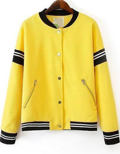 Yellow Long Sleeve Zipper Pockets Jacket