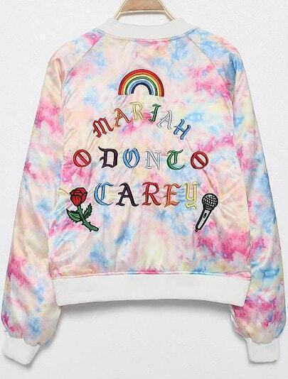 Multicolor Long Sleeve Letters Microphone Embroidered Jacket