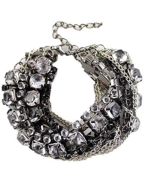 Black White Diamond Silver Multilayers Bracelet