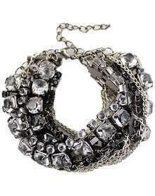 Black White Diamond Silver Multilayers Bracelet