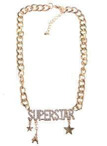 Gold Diamond SUPERSTAR Chain Necklace