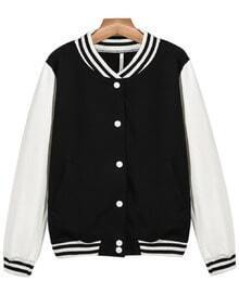 Black and White Conrtast Striped Trims Bomber jacket
