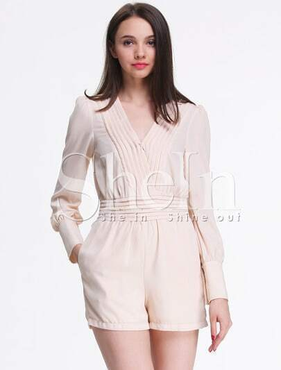 Biege Deep V-neck Long Sleeve Pleated Waist Jumpsuit