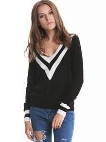 Black Deep V-neck Long Sleeve Contrast Striped Trim Sweater