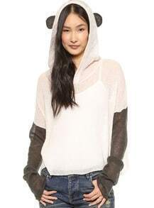 Beige and Grey Long Sleeve Panda Style Hood Lightweight Sweater