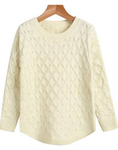 Apricot Round Neck Long Sleeve Cable Knit Sweater