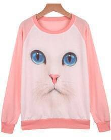 Pink Long Sleeve Cat Print Loose Sweatshirt