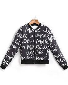 Black Long Sleeve Letters Print Crop Jacket