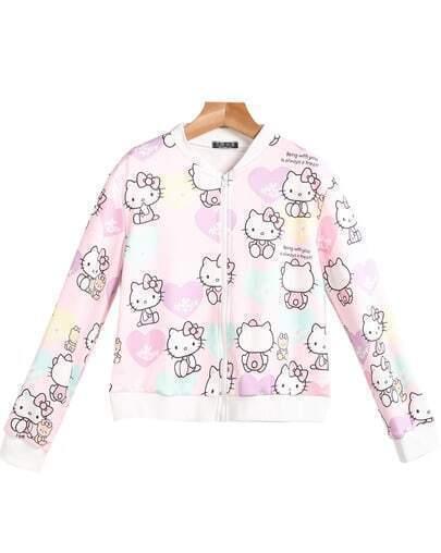 Pink Long Sleeve Hello Kitty Print Jacket