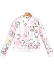 Pink Long Sleeve Hello Kitty Print Jacket