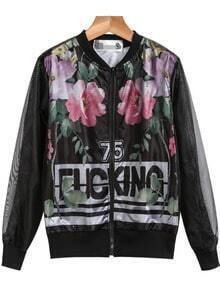 Black Mesh Yoke Long Sleeve Floral Jacket