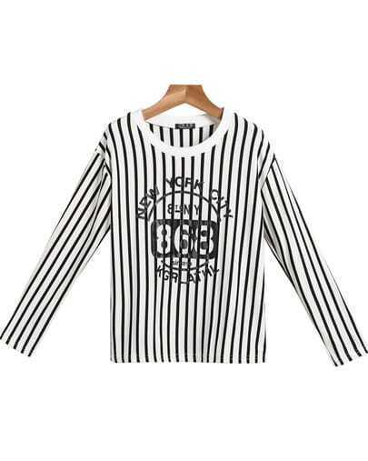 White Long Sleeve Vertical Stripe Letters Print T-Shirt