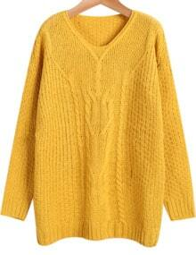 Yellow V Neck Long Sleeve Cable Knit Sweater