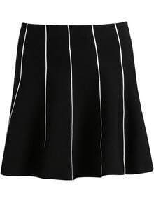 Black Vertical Stripe Knit Skirt