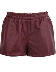 Red Elastic Waist Leather Shorts