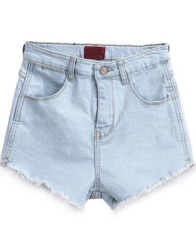 Light Blue Pockets Fringe Denim Shorts